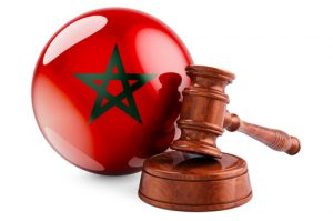 Wooden gavel with flag of Morocco