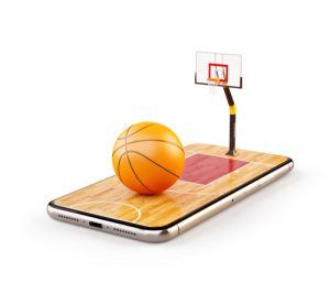 a basketball ball on court on a smartphone screen
