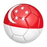 Soccer ball with the country flag of Singapore